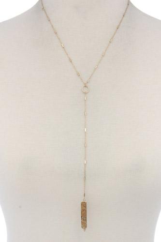 Rectangular Faux Stone Y Shape Necklace