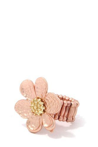 Hammered Flower Stretch Ring