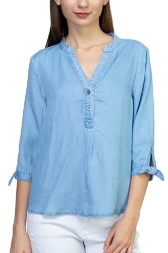 Tencel Split Neckline Shirt