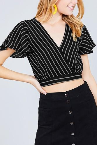 Short Sleeve V-neck W/surplice Tie Detail Multi Stripe Print Woven Top