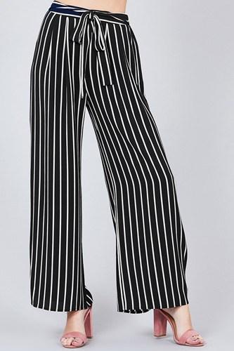 Stripe Print Waist Self Bow Tie Crepe Long Pants