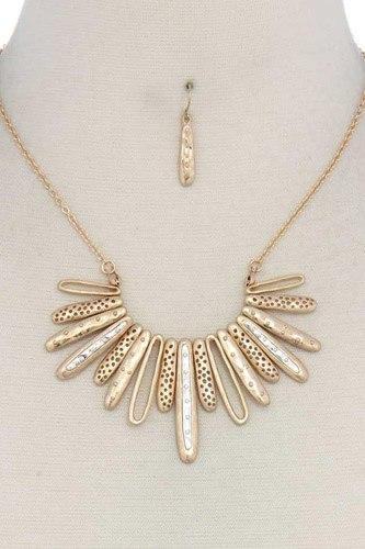 Long Oval Shape Metal Necklace