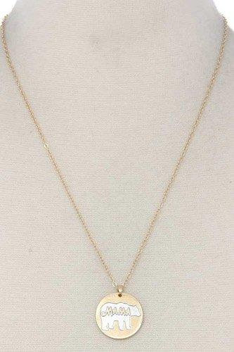 Mama Bear Circle Pendant Necklace