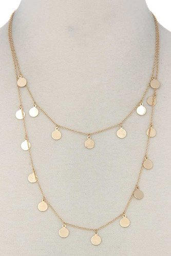 Coin Dangle Metal Layered Necklace