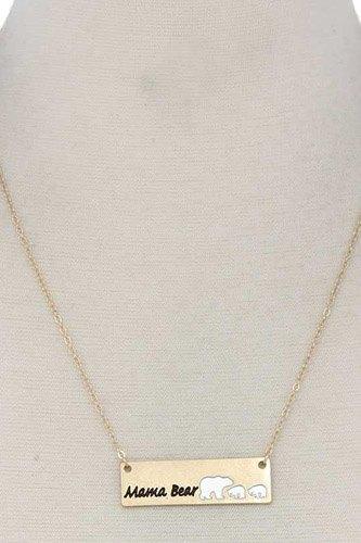 Mama Bear Metal Bar Pendant Necklace