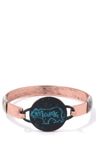 Mama Bear Circle Metal Bracelet