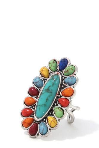 Oval Shape Bead Metal Ring