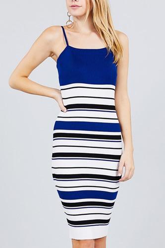 Straight Neck Multi Stripe Cami Mini Sweater Dress