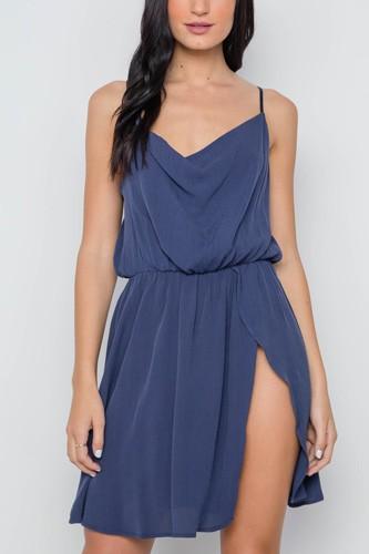 Navy Solid Cami Cowl Neck Side Slit Mini Dress