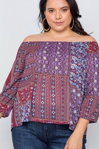 Plus Size Off-the-shoulder Multi Print Top