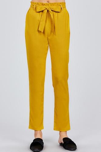 Paper Bag W/bow Tie Long Linen Pants