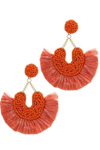 Beaded Fan Tassel Dangle Drop Earring