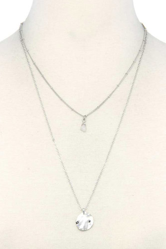Hammered Circle Charm Layered Necklace
