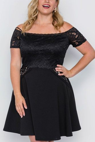 Plus Size Off-the-shoulder Skater Mini Dress