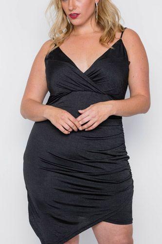 Plus Size Black Cami Surplice Bodycon Mini Dress