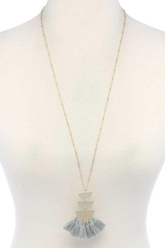 Hammered Metal Half Circle Tassel Pendant Necklace