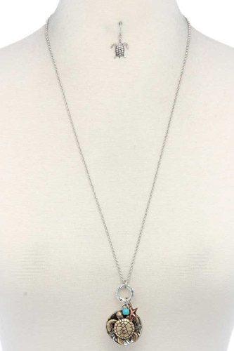 Sea Turtle Charm Pendant Necklace