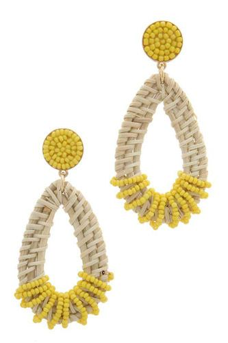 Beaded Teardrop Shape Post Drop Earring