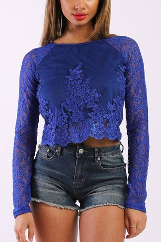 Solid Lace Top With Long Sleeves And Round Neck