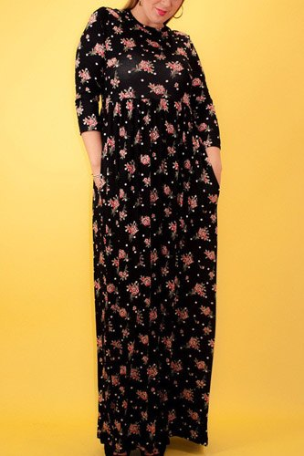 Striped Floral Print Maxi Dress In A Relaxed Fit And Flare Style With A Wrapped V-neck, Short Sleeves, Side Pockets And Waist Tie Belt