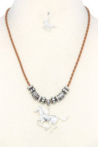 Horse Charm Metal Bead Necklace