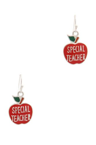 Special Teacher Apple Drop Earring