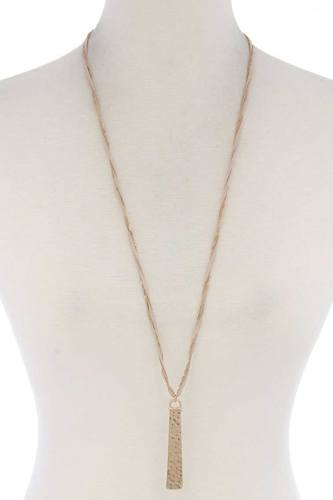 Hammered Metal Bar Pendant Suede Necklace