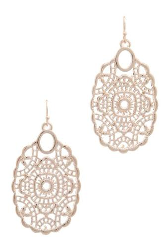 Laser Cut Metal Drop Earring
