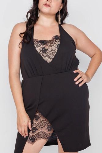 Plus Size Lace Detail Bodycon Mini Dress