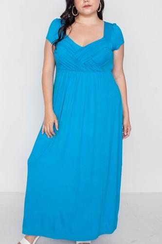 Plus Size Short Sleeve Maxi Dress