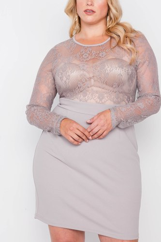 Plus Size Combo Lace Long Sleeve Dress