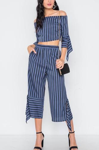Stripe Flounce Two Piece Top Pants Set