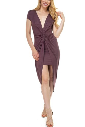 Deep V-neck Jersey Tunic Dress