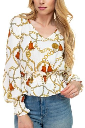 Long Sleeve Baroque & Chain Print Top