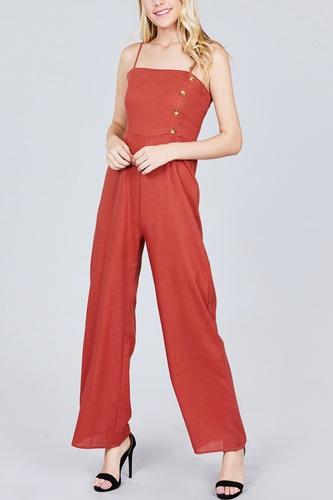 Button Down Cami Linen Jumpsuit