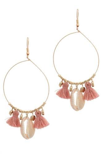 Cowrie Shell Tassel Drop Earring