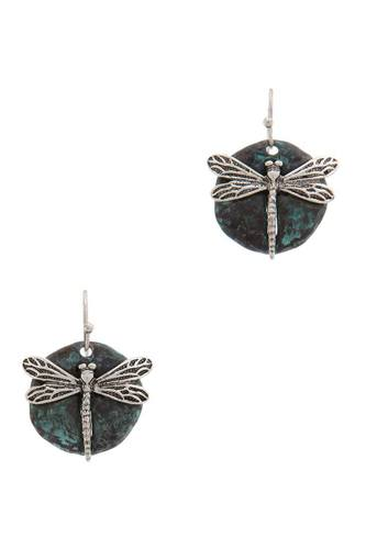 Dragonfly Charm Circle Drop Earring