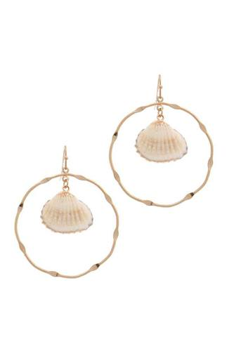 Shell Dangle Metal Circle Drop Earring