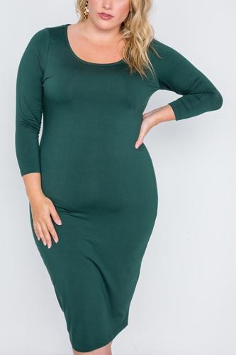 Plus Size Basic Bodycon Midi Dress