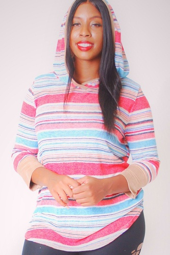 Striped, Hip Length Hoodie Top