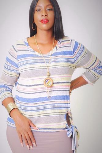 Striped, Waist Length Top
