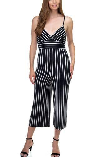 Stripe Sleeveless Jumpsuit