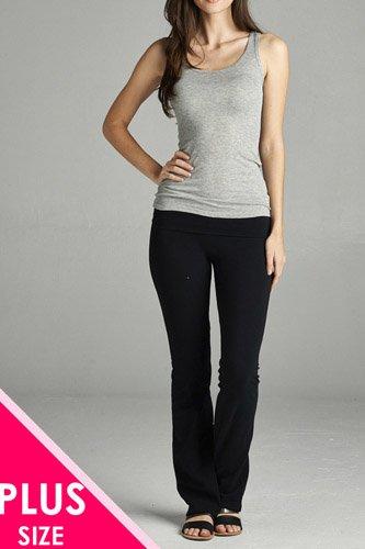 Full Length Leggings With Flare Bottom Detail And Fold Over Waist