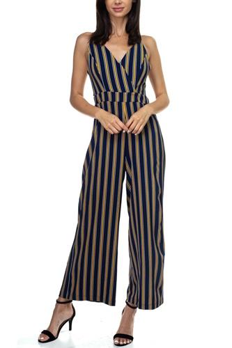 Stripe Back Self-tie Jumpsuit