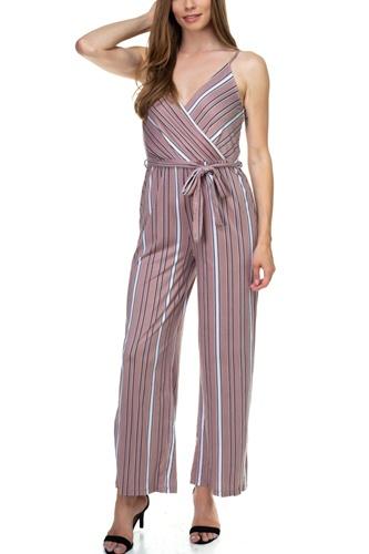 Sleeveless Stripe Waist Tie Jumpsuit