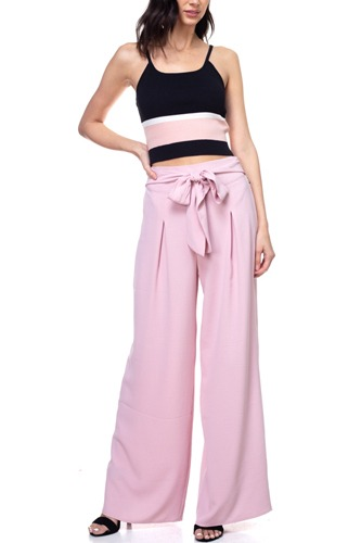 Belted Pleated Palazzo Pants