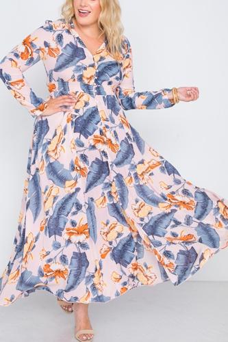 Plus Size  Floral Print Button Down Maxi Dress