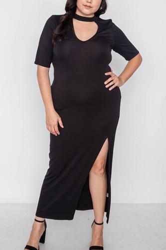 Plus Size Site Slit Mock Neck Maxi Dress