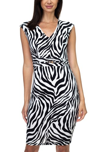 Animal Print Belted Mini Dress