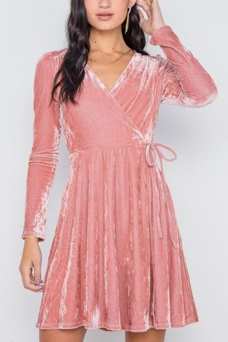 Blush Velvet Fit & Flare Long Sleeve Mini Dress
